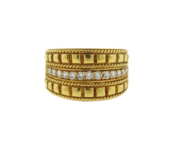 Penny Preville 18K Gold Diamond Wide Band Ring