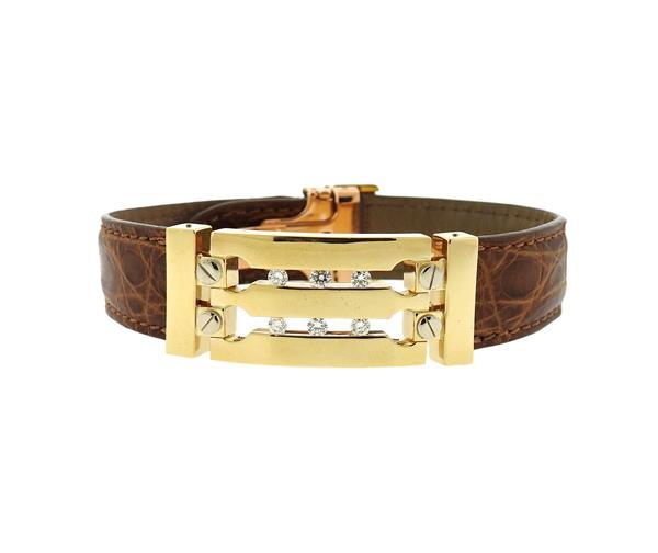 Piaget 18k Gold Diamond Leather Bracelet