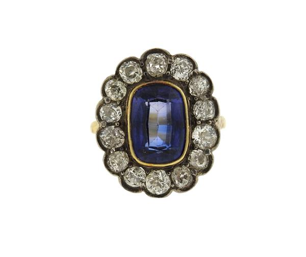 Antique 18K Gold Sterling Silver Blue Stone Diamond Ring
