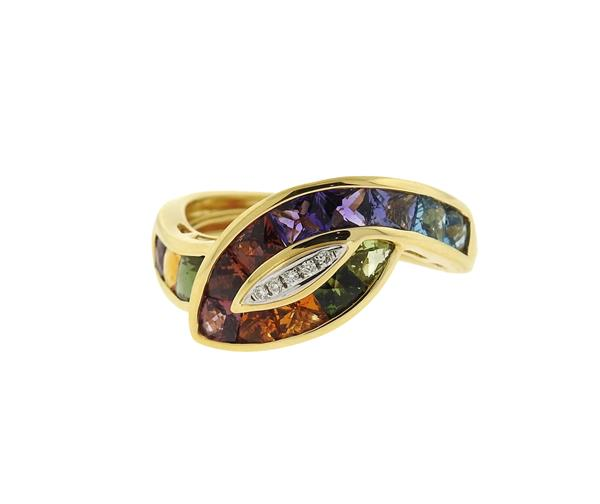 Bellari 18K Gold Multi Color Gemstone Diamond Ring