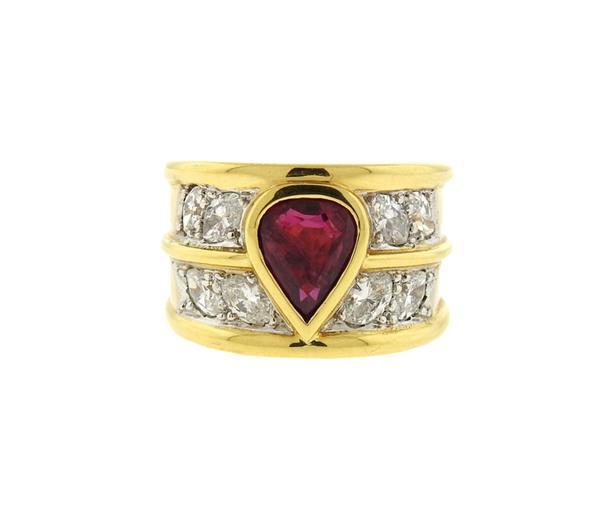 Vasari 18K Gold Ruby Diamond Wide Band Ring