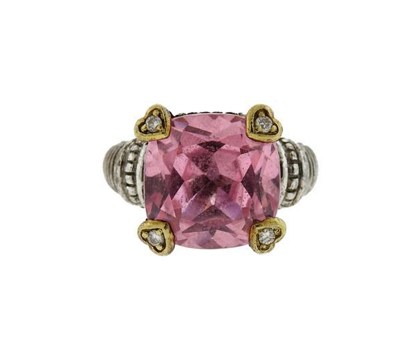 Judith Ripka 18K Gold Silver Pink Stone Diamond Ring