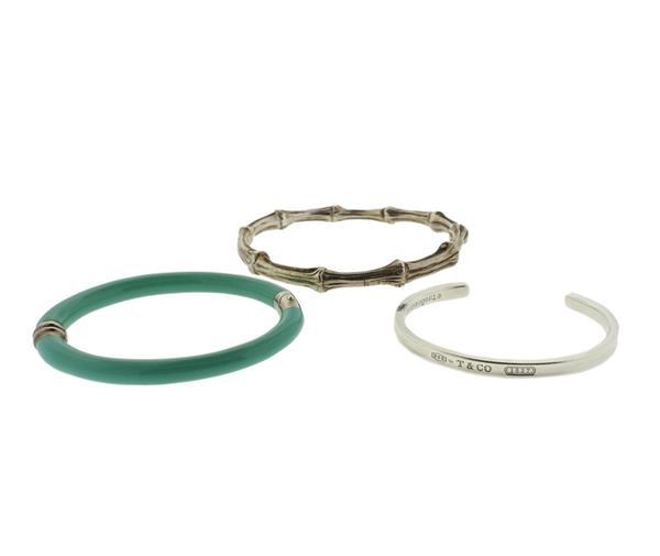 Tiffany & Co Sterling Enamel Bangle Cuff Bracelet Lot of 3