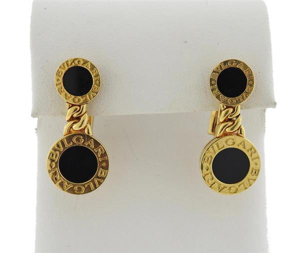 Bvlgari Bulgari 18K Gold Onyx Drop Earrings