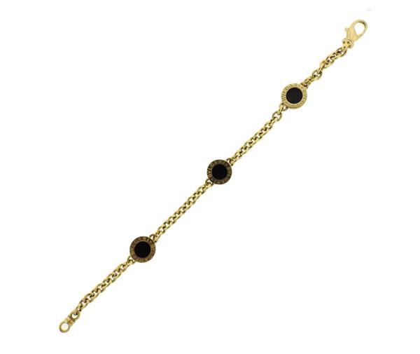 Bvlgari Bulgari 18K Gold Onyx Station Bracelet