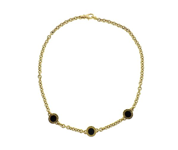 Bvlgari Bulgari 18K Gold Onyx Station Necklace