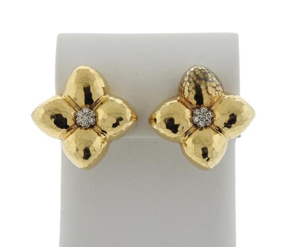 14K Gold Diamond Flower Motif Earrings