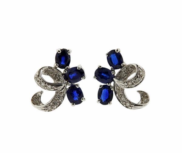 18K Gold Diamond Sapphire Stud Earrings