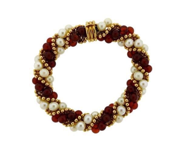 1960s 18K Gold Pearl Carnelian Twist Bracelet