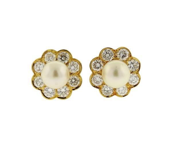 18K Gold Diamond Pearl Flower Motif Earrings