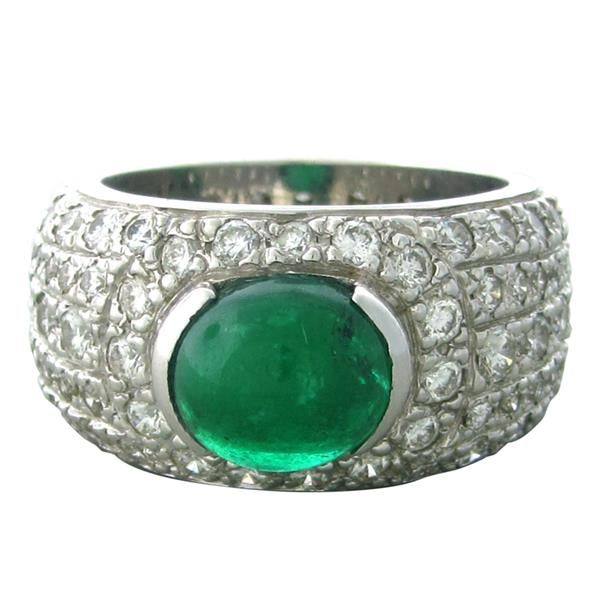 18k Gold Diamond Emerald Cabochon Ring