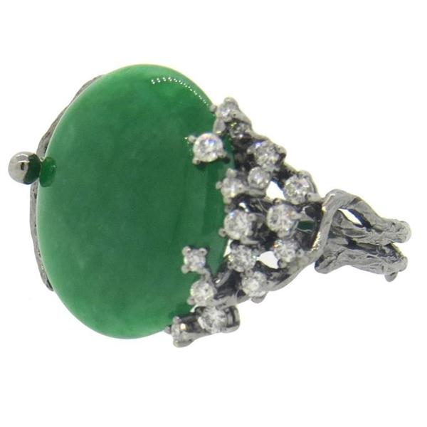 18k Gold Diamond Green Jadeite Jade Naturalistic Ring