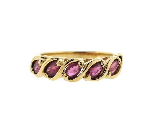 14K Gold Ruby Diamond Band Ring