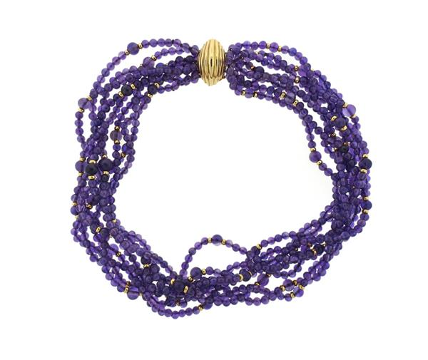 14K Gold Amethyst Bead Multi Strand Necklace