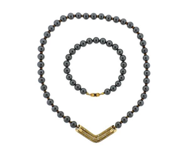 14K Gold Hematite Diamond Necklace Bracelet Set