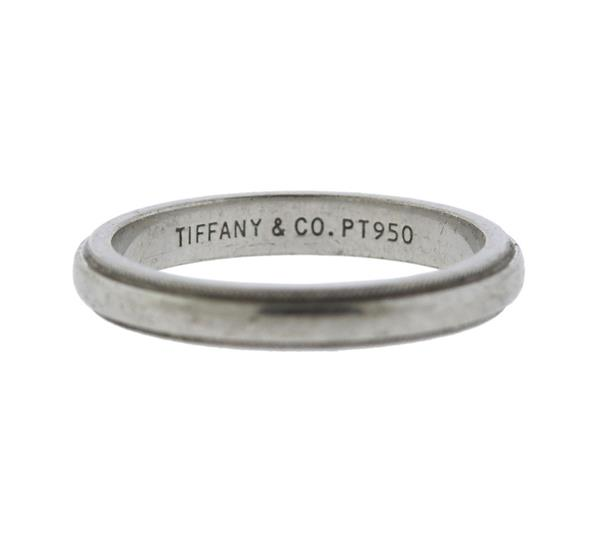 Tiffany Co Platinum 18k Gold 3mm Milgrain Wedding Band: Tiffany & Co Platinum Milgrain Wedding Band Ring