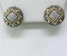 Modern Sterling 18kGold Diamond Earrings