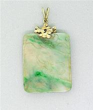 14k  Gold Carved Jade Pendant