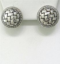 Scott Kay Basketweave Sterling Diamond Earrings