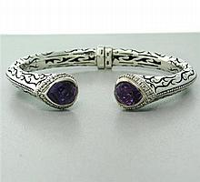 Scott Kay Sterling Amethyst Diamond Bracelet