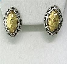 John Hardy Sterling 22k Gold Earrings