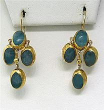 Gold Silver Blue Stone Drop Earrings