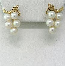 Vintage Gold Pearl Earrings