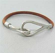 Hermes Stainless Steel  Leather Hook Bracelet