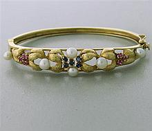 1960s 14k Gold Ruby Sapphire Pearl Bracelet