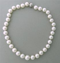 EGL 12 X  14.3mm South Sea Pearl Diamond Necklace