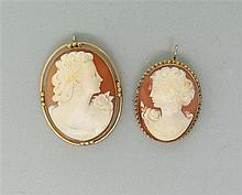 14K Gold Cameo Brooch Pendant Lot of 2