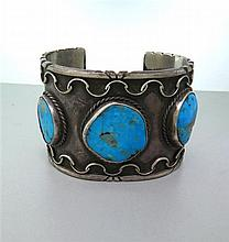 Large Native American Sterling Turquoise Bracelet