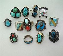 Native American Sterling Gemstone Ring Lot of 13