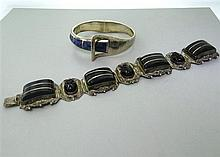Signed Mexican Taxco Sterling Onyx Lapis Bracelet Lot