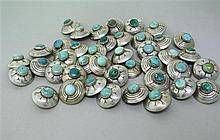 Native American Sterling Turquoise Button Lot of 41