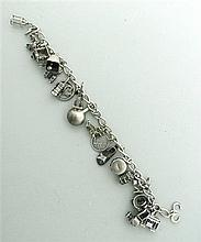 1940s Sterling 3D Charm Bracelet