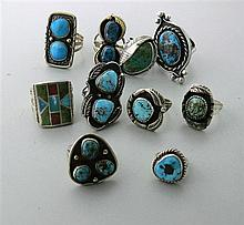 Native American Sterling Gemstone Ring Lot of 10