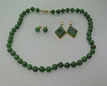 14K Gold Jade Nephrite Necklace Earrings Lot of 3