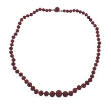 Antique 12k Gold Graduated Coral Bead Necklace