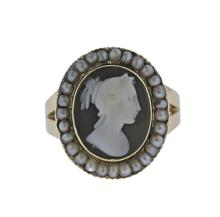 14K Gold Cameo Pearl Ring