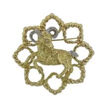 14k Gold Diamond Ram Large Brooch Pendant