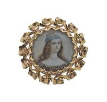 Seaman Schepps 14k Gold Miniature Portrait Brooch