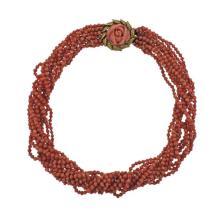 18k Gold Coral Bead Torsade Necklace