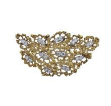 1970s 14k Gold Diamond Brooch  Pendant