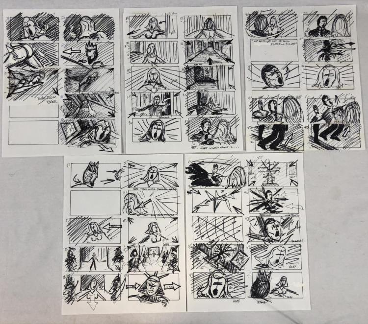Wishmaster (1997) - Original Hand Drawn Storyboards - Set of 5 lot B