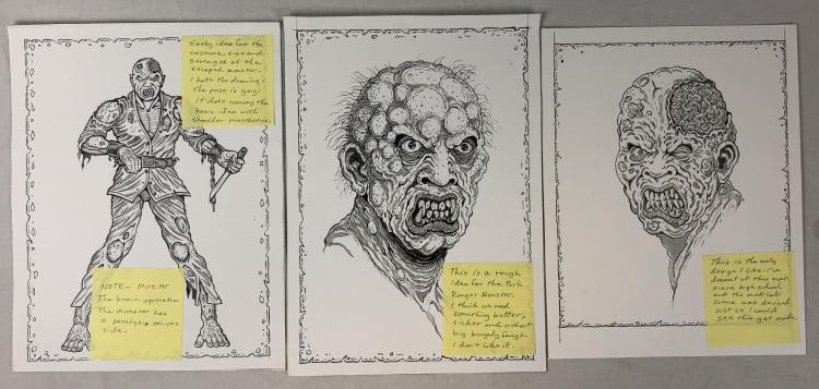 The Rage (2007) - Creature Designs Concept Original Art Set of 3 - Lot B