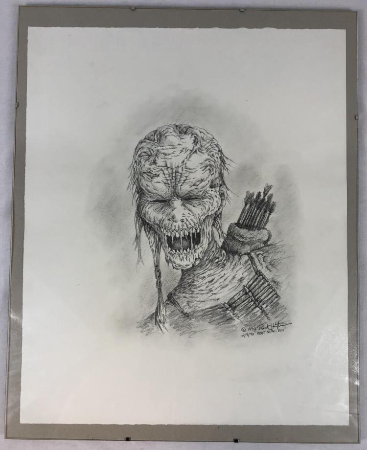 Framed Indian Zombie Original Concept Art by Robert Kurtzman