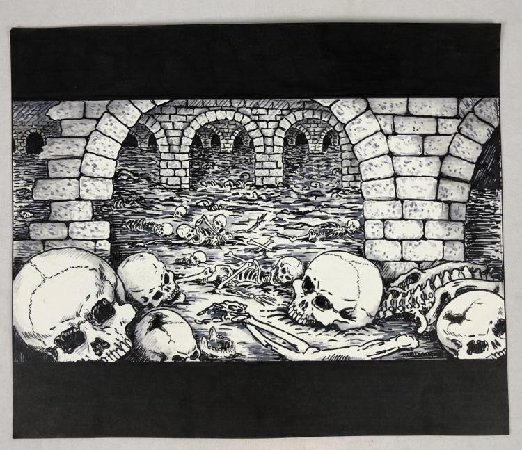 From Dusk Till Dawn (1996) - Subbasement Boneyard Concept Art by Robert Kurtzman