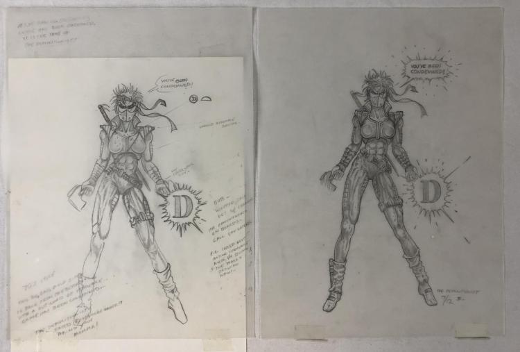 The Demolitionist (1995) - Original Concept Design Artwork of the Demolitionist Suit - Set of 2