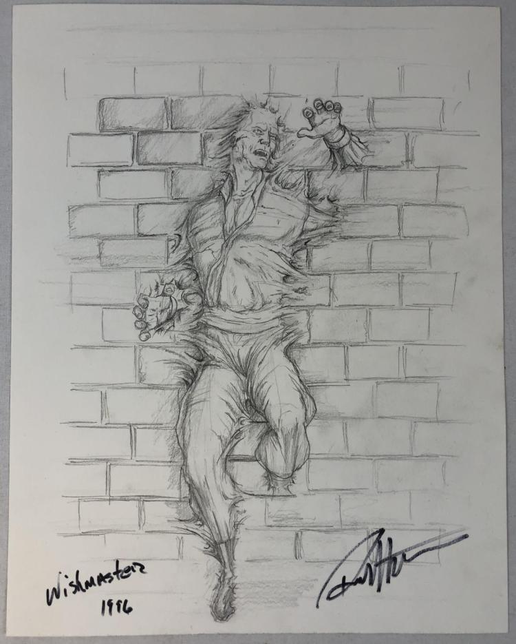 Wishmaster (1997) - Peasant Sucked Into Wall Concept Artwork
